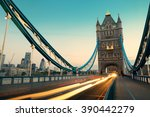 tower bridge and traffic in the ... | Shutterstock . vector #390442279