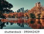 central park autumn and... | Shutterstock . vector #390442429