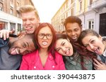 multiracial best friends taking ... | Shutterstock . vector #390443875