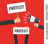 hands holding protest signs | Shutterstock .eps vector #390447985