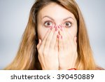 portrait of young woman shocked ... | Shutterstock . vector #390450889
