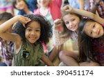 child companionship diversity... | Shutterstock . vector #390451174