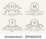 luxury logo template. shield... | Shutterstock .eps vector #390460105