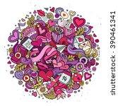cartoon vector hand drawn... | Shutterstock .eps vector #390461341