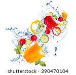 Water Splash And Vegetable...