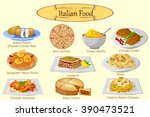 collection of delicious italian ... | Shutterstock .eps vector #390473521