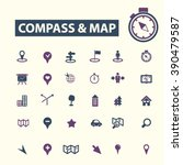 compass map icons  | Shutterstock .eps vector #390479587