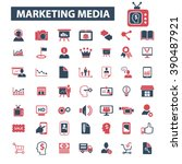 marketing media icons  | Shutterstock .eps vector #390487921