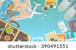 flat web banner on the theme of ... | Shutterstock . vector #390491551
