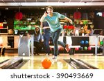bowling with a couple of... | Shutterstock . vector #390493669