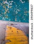 peeling azure paint wall... | Shutterstock . vector #390499837