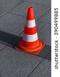 one traffic cone standing on... | Shutterstock . vector #390499885