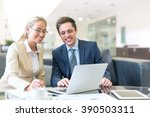 smiling business people with... | Shutterstock . vector #390503311