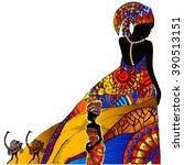 beautiful african woman   Shutterstock .eps vector #390513151
