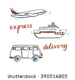 vector set of doodle delivery... | Shutterstock .eps vector #390516805