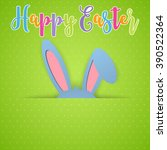 happy easter card with rabbit... | Shutterstock . vector #390522364