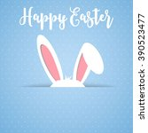 happy easter card with rabbit... | Shutterstock . vector #390523477