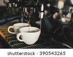 coffee shot from coffee machine ... | Shutterstock . vector #390543265