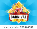 the carnival funfair and magic... | Shutterstock .eps vector #390544531