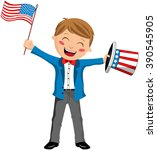 cartoon boy uncle sam smiling... | Shutterstock .eps vector #390545905