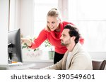 couple working in home office... | Shutterstock . vector #390549601