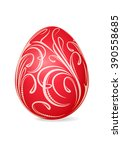 bright red easter egg with... | Shutterstock .eps vector #390558685