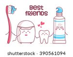 tooth  toothpaste  dental floss ... | Shutterstock .eps vector #390561094