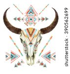 cow skull in tribal style.... | Shutterstock . vector #390562699
