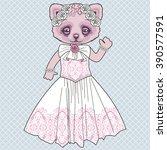 beautiful retro kitty bride in... | Shutterstock .eps vector #390577591