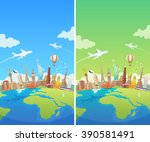 travel to world. road trip.... | Shutterstock . vector #390581491