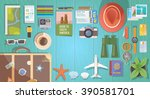 flat  web banner on the theme... | Shutterstock . vector #390581701