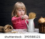 child grain oats and wheat.... | Shutterstock . vector #390588121