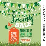 spring sale marketing template... | Shutterstock .eps vector #390597649