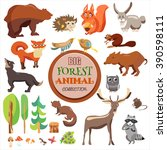 big forest funny animals set.... | Shutterstock .eps vector #390598111