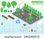 isometric city elements set.... | Shutterstock .eps vector #390598975