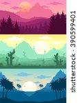 mountains  tropical and desert... | Shutterstock .eps vector #390599401