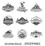 set of vector summer  mountain... | Shutterstock .eps vector #390599881