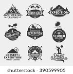 set of vector summer  mountain... | Shutterstock .eps vector #390599905