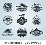 set of vector summer  mountain... | Shutterstock .eps vector #390599929
