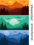 mountains landscapes with trees ... | Shutterstock .eps vector #390599965