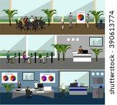 flat design of business people... | Shutterstock . vector #390613774