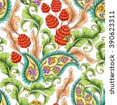 traditional oriental paisley... | Shutterstock .eps vector #390623311