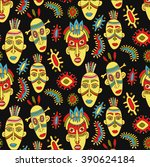 african pattern  masks and... | Shutterstock .eps vector #390624184