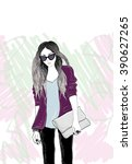 stylish girl | Shutterstock . vector #390627265