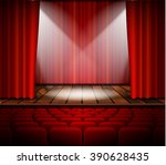 a theater stage with a red... | Shutterstock .eps vector #390628435