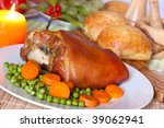 bavarian roasted knuckle of... | Shutterstock . vector #39062941