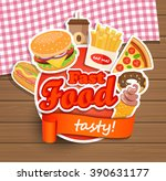 fast food elements ... | Shutterstock .eps vector #390631177