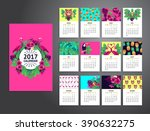 tropical printable calendar... | Shutterstock .eps vector #390632275