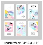 set of creative cards and... | Shutterstock .eps vector #390633841