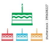 birthday cake sign. colorfull... | Shutterstock . vector #390638227